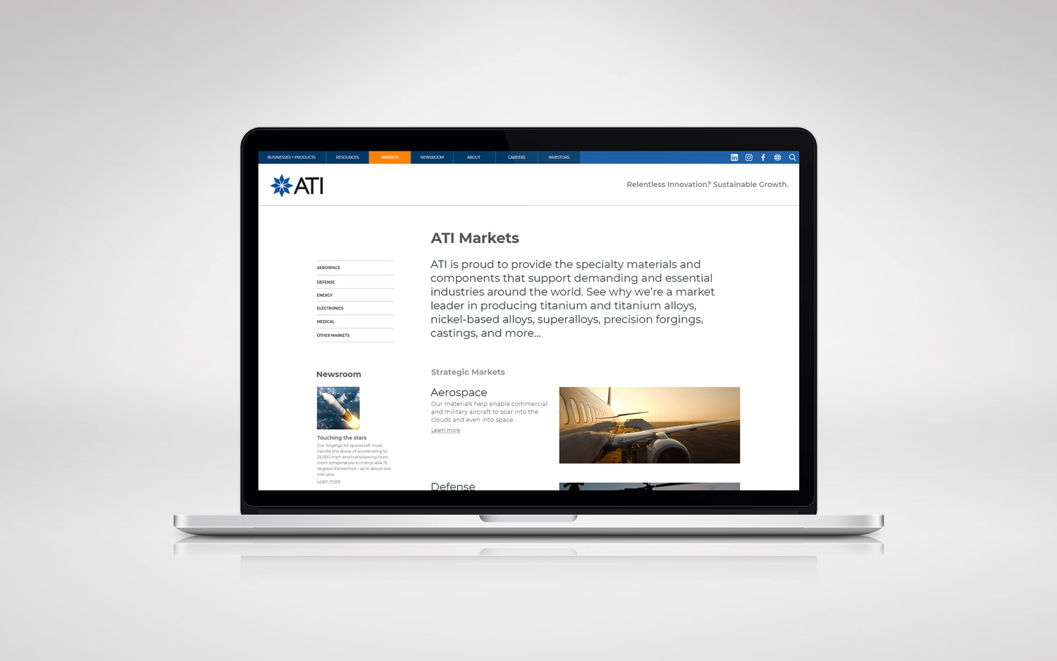 ATI website screen